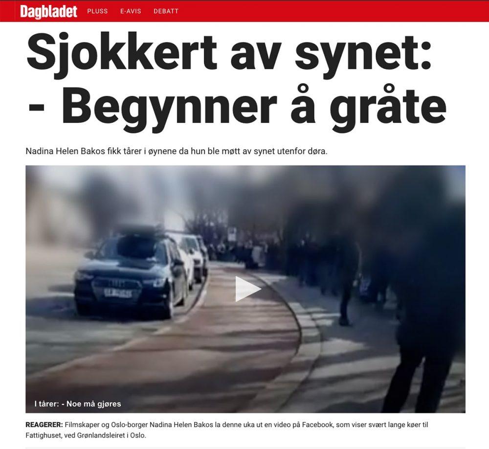 Dagbladet sjokkert av synet Nadina Helen Bakos small
